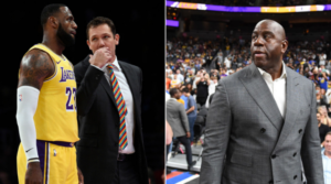 LeBron James a colloquio con coach Luke Walton. A destra, Magic Johson. Personaggi di un film già visto