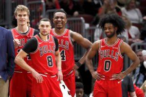 Le giovani speranze dei Bulls. Da sinistra: Lauri Markkanen, Zach LaVine, Wendell Carter Jr. e Coby White